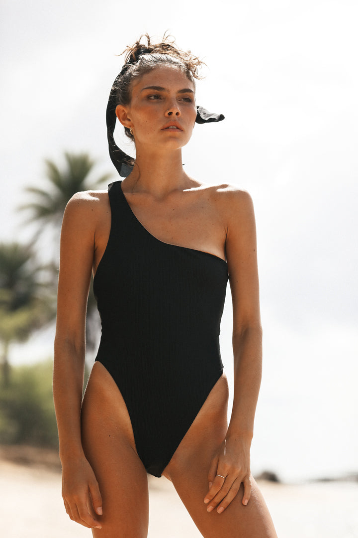 ASHLEY ONE PIECE BODYSUIT - BLACK RIB
