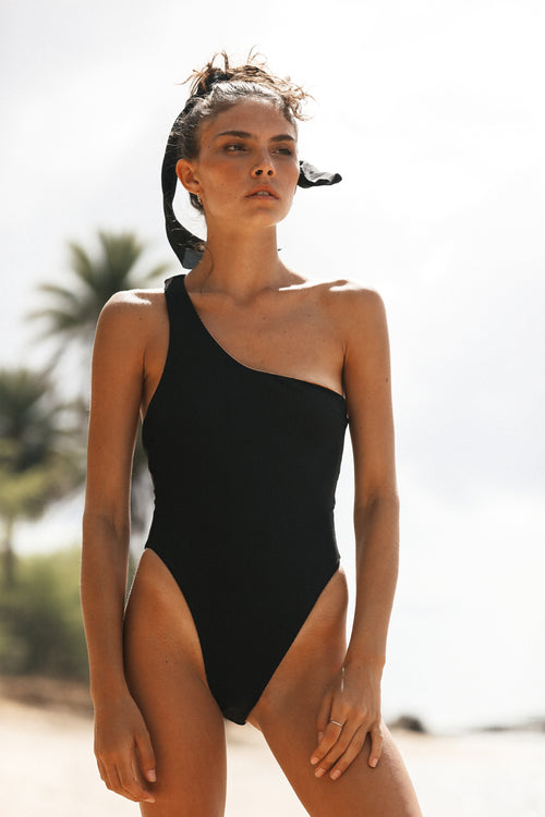 ASHLEY ONE PIECE - BLACK RIB
