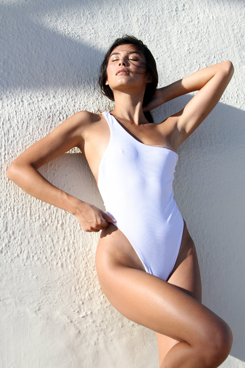 ASHLEY ONE PIECE - WHITE RIB
