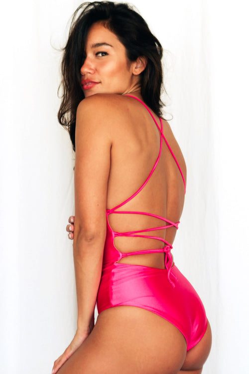 BELLA LACE UP ONE PIECE - HIBISCUS