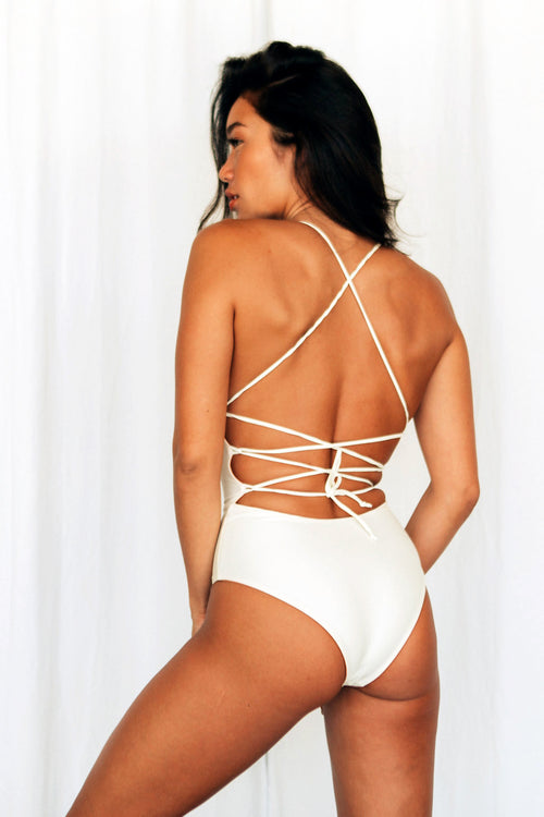 BELLA LACE UP ONE PIECE - IVORY