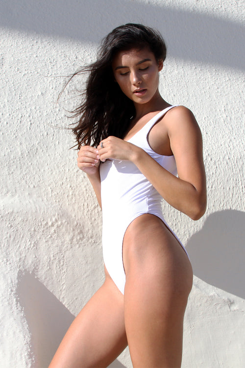 GEMMA ONE PIECE - WHITE RIB