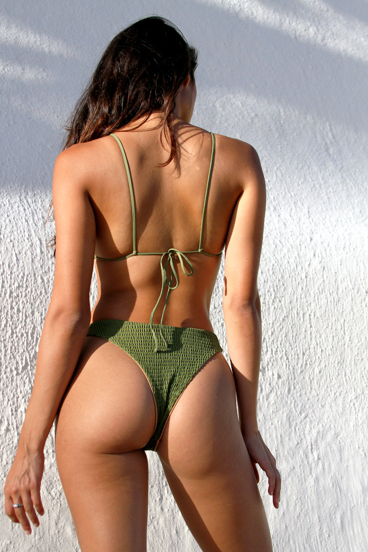 HUNTER BIKINI BOTTOM - OLIVE GREEN SMOCK
