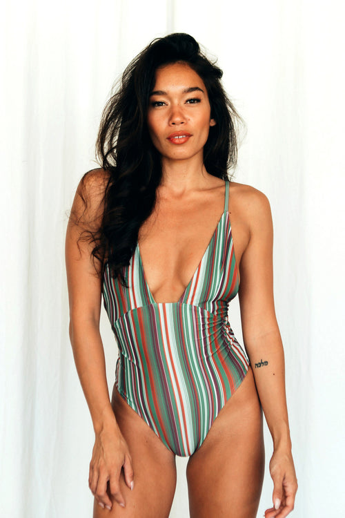 ZOE PLUNGE ONE PIECE - RETRO STRIPE