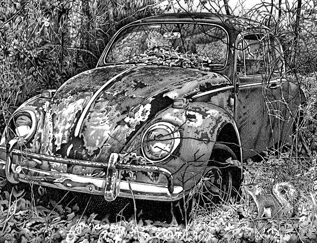"VW Beetle - Junkyard Series Stainless Steel Wrap (8""x10"")"