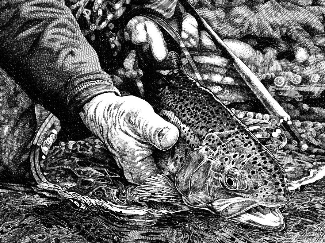 "Trout Fishing Stainless Steel Wrap (8""x10"")"