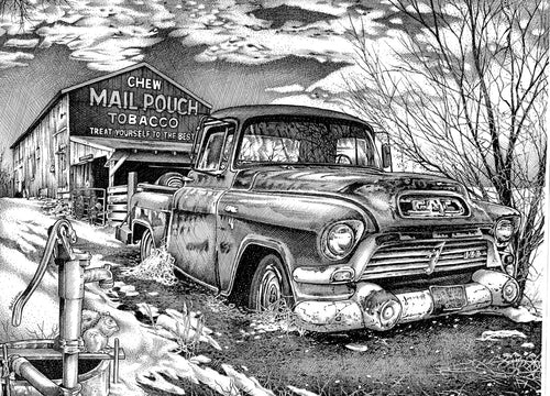 "GMC Truck - Junkyard Series Stainless Steel Wrap (8""x10"")"