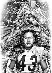 "Troy Polamalu (Thor) Stainless Steel Wrap (8""x10"")"