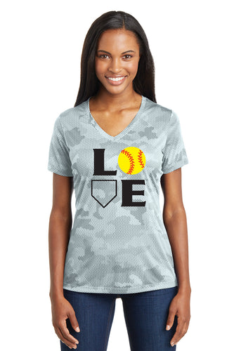 L-O-V-E Softball Ladies Camo Shirt