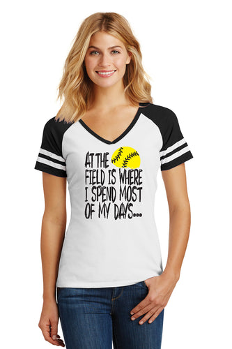 At The Field Softball Ladies Shirt