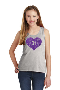 Softball Number Heart Tanks