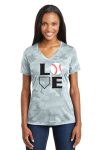 L-O-V-E Baseball Camo Ladies Shirt
