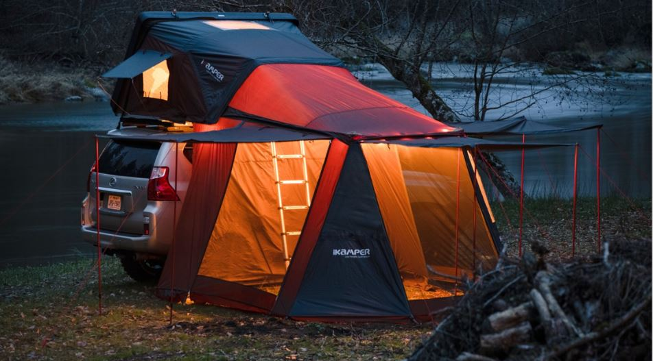 Tent set up in dark environment