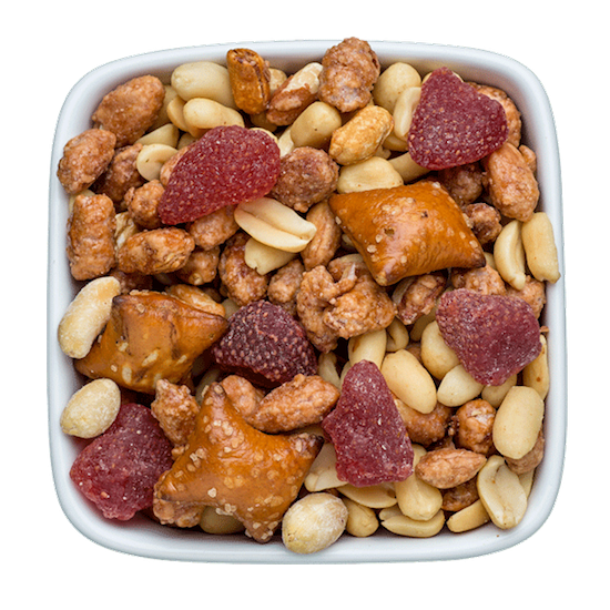 peanut butter and jelly nut mix with dried strawberries
