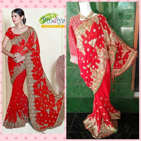 Saree Payet Sifon Red Gold