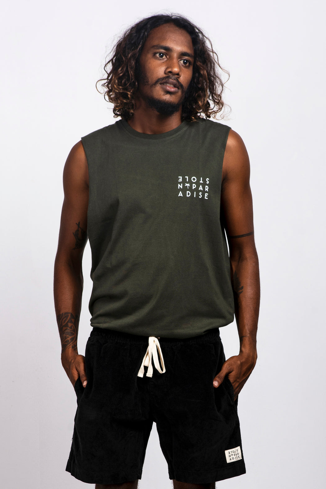 Ceylon Square Singlet - Army Green