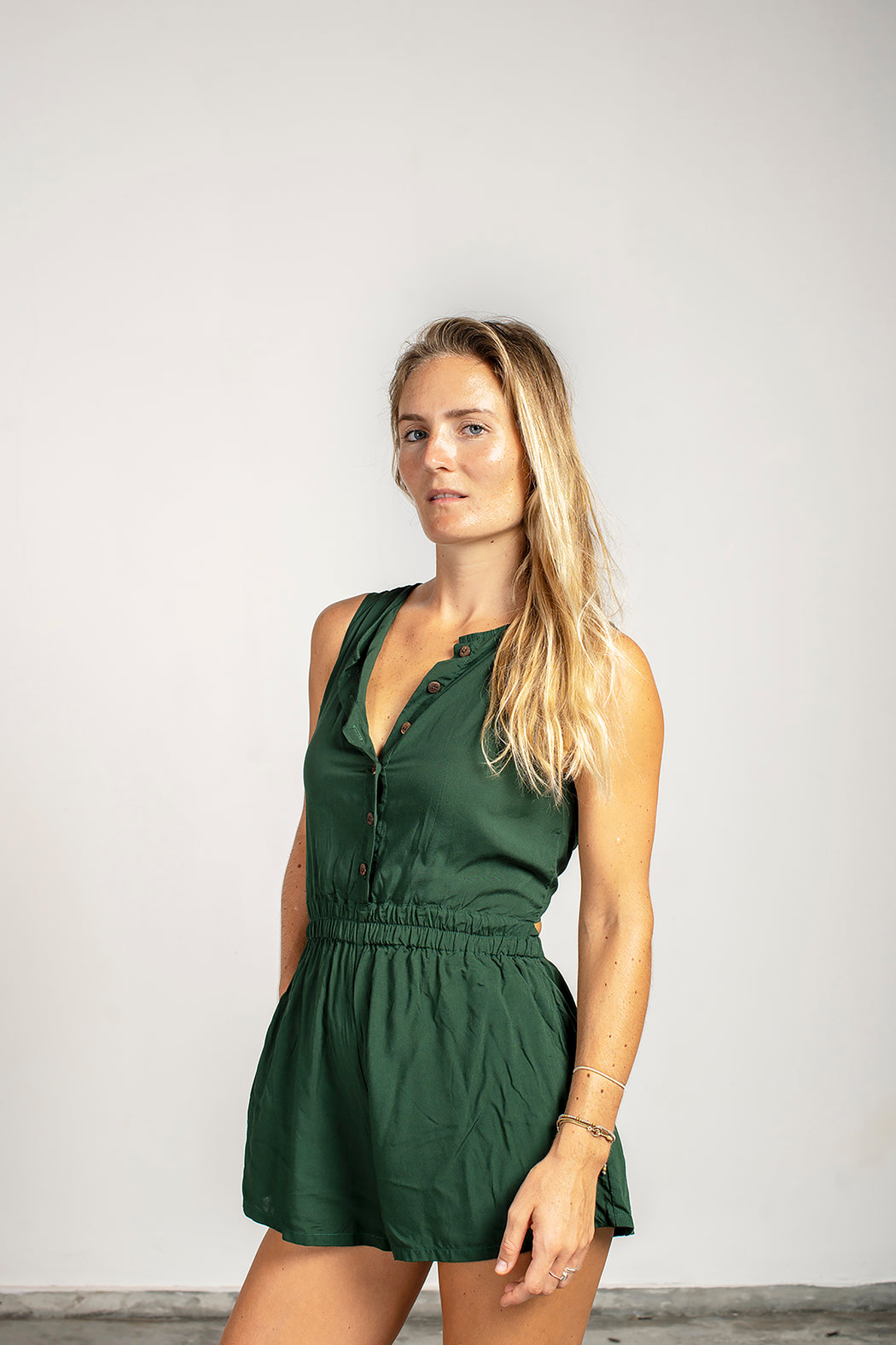 Twist Romper - Bottle Green