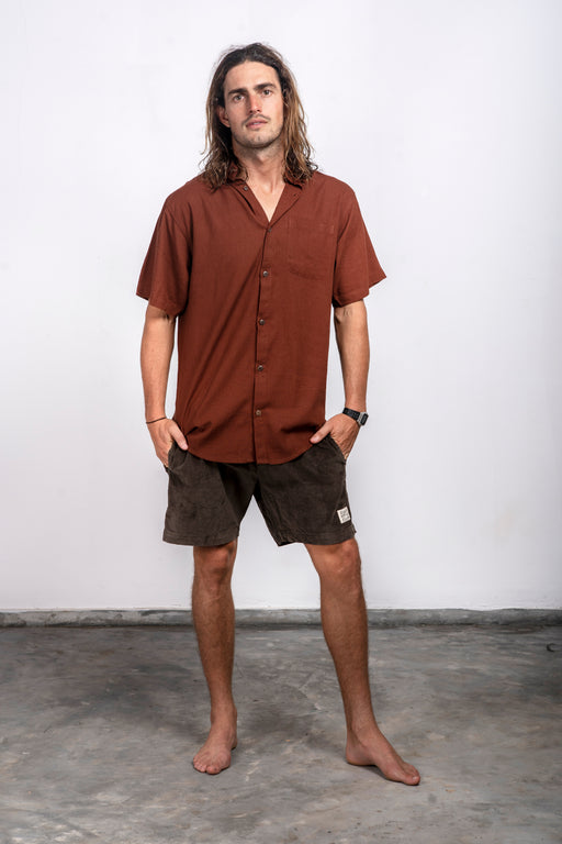 Arala Linen S/S Shirt - Brown