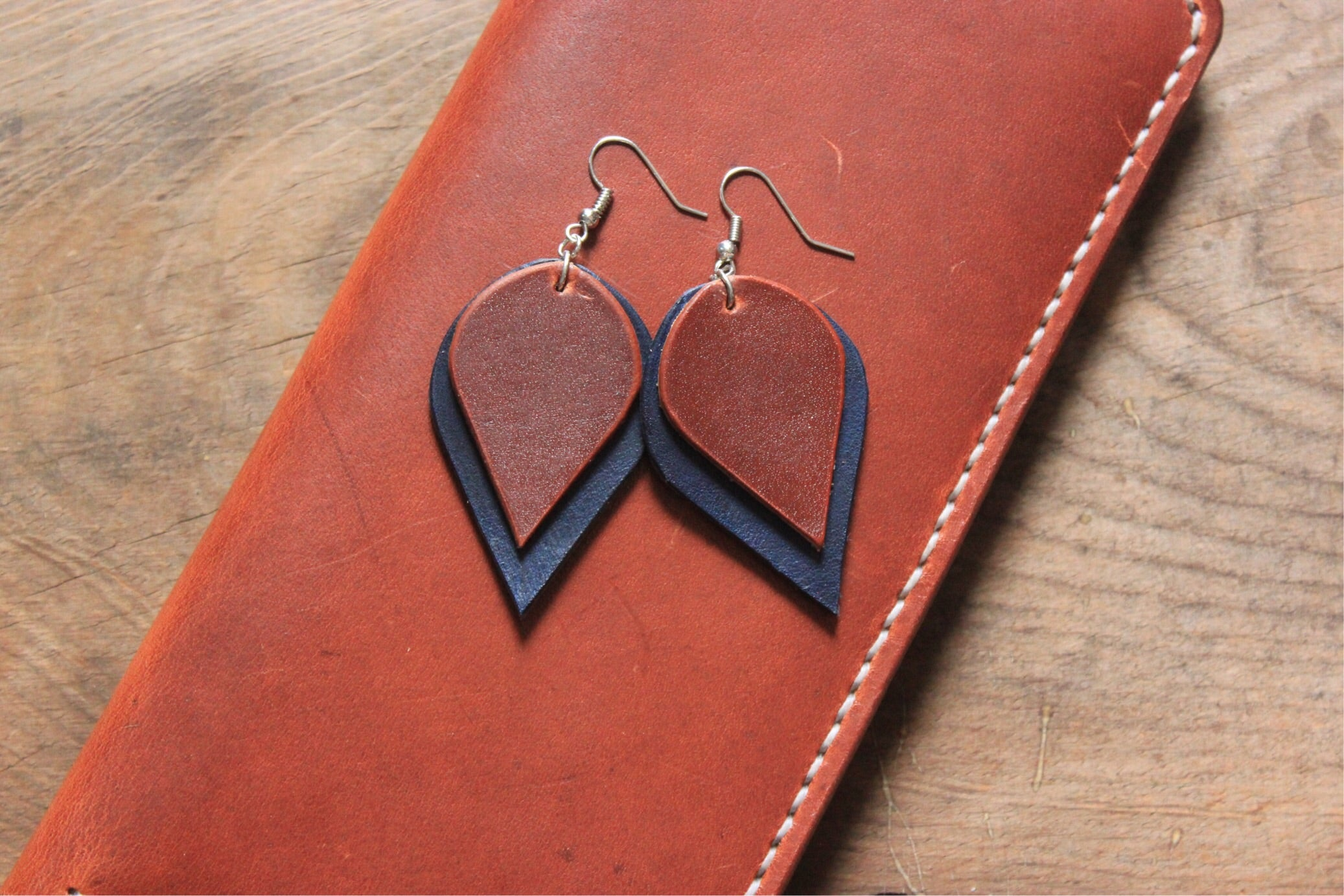 Two Tone Leaf Earrings // Tan-Cobalt Blue