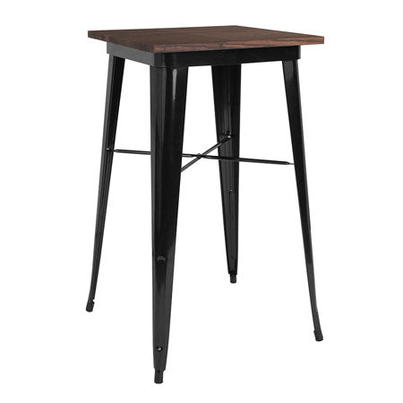 23.5'' SQUARE BLACK METAL INDOOR-OUTDOOR BAR HEIGHT TABLE / WOOD TOP
