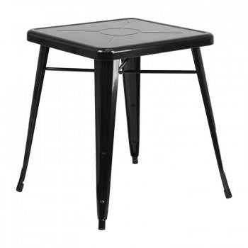 23.75'' SQUARE BLACK METAL INDOOR-OUTDOOR TABLE