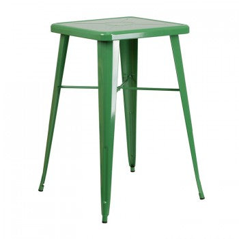 23.75'' SQUARE GREEN METAL INDOOR-OUTDOOR BAR HEIGHT TABLE