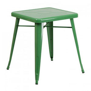 23.75'' SQUARE GREEN METAL INDOOR-OUTDOOR TABLE