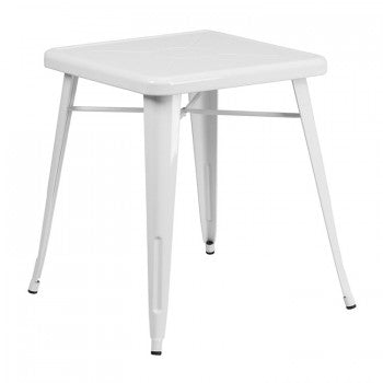 23.75'' SQUARE WHITE METAL INDOOR-OUTDOOR TABLE