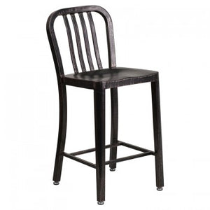 "NAVY CURVE - 24"" BLACK-ANTIQUE METAL BAR STOOL"