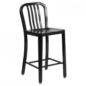 "NAVY CURVE - 24"" BLACK METAL BAR STOOL"
