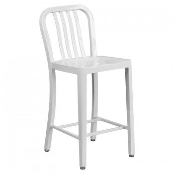 "NAVY CURVE - 24"" WHITE METAL BAR STOOL"