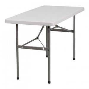 24''W X 48''L GRANITE WHITE PLASTIC FOLDING TABLE [RB-2448-GG]