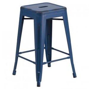 "PHOENIX - 24'' & 30"" High Backless Distressed Antique Blue Metal Indoor Counter Height Stool"