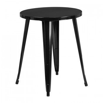 24'' ROUND BLACK METAL INDOOR-OUTDOOR TABLE / WOOD TOP