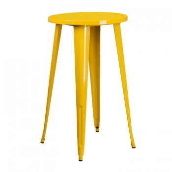 24'' ROUND YELLOW METAL INDOOR-OUTDOOR BAR HEIGHT TABLE