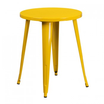 24'' ROUND YELLOW METAL INDOOR-OUTDOOR TABLE