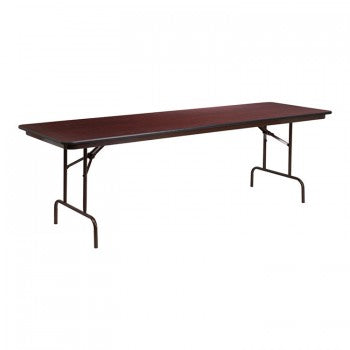 30'' X 96'' RECTANGULAR MAHOGANY MELAMINE LAMINATE FOLDING BANQUET TABLE [YT-3096-MEL-WAL-GG]