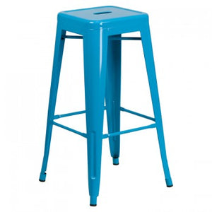 "PHOENIX - 30"" BACKLESS CRYSTAL BLUE METAL BAR STOOL"