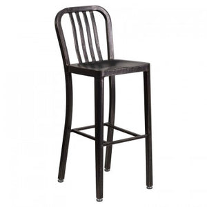 "NAVY CURVE - 30"" BLACK-ANTIQUE METAL BAR STOOL"