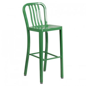 "NAVY CURVE - 30"" GREEN METAL BAR STOOL"