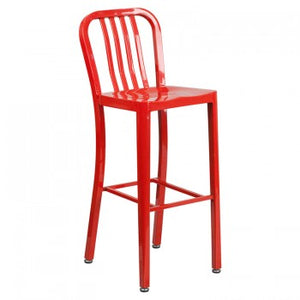 "NAVY CURVE - 30"" RED METAL BAR STOOL"