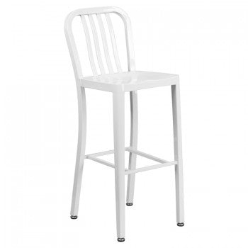 "NAVY CURVE - 30"" WHITE METAL BAR STOOL"