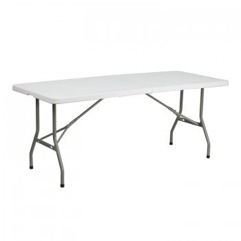 30''W X 72''L BI-FOLD GRANITE WHITE PLASTIC FOLDING TABLE [RB-3072FH-GG]