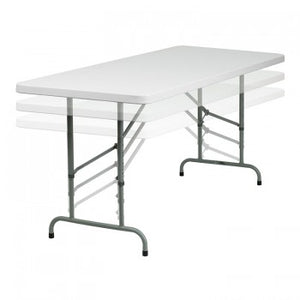 30''W X 72''L HEIGHT ADJUSTABLE GRANITE WHITE PLASTIC FOLDING TABLE [RB-3072ADJ-GG]