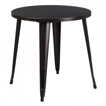 30'' ROUND BLACK-ANTIQUE GOLD METAL INDOOR-OUTDOOR TABLE