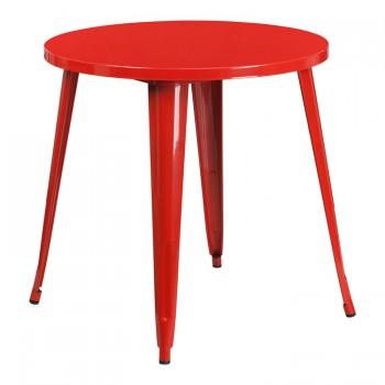 30'' ROUND RED METAL INDOOR-OUTDOOR TABLE