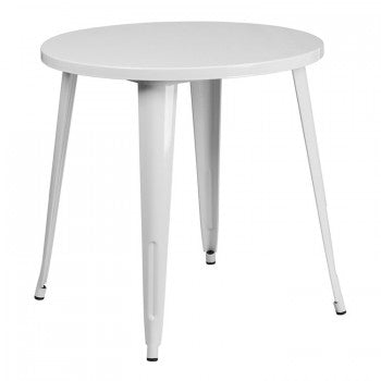 30'' ROUND WHITE METAL INDOOR-OUTDOOR TABLE