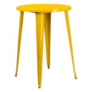 30'' ROUND YELLOW METAL INDOOR-OUTDOOR BAR HEIGHT TABLE