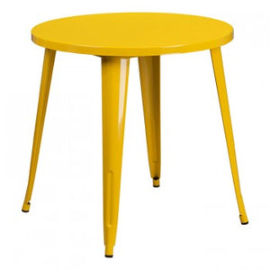 30'' ROUND YELLOW METAL INDOOR-OUTDOOR TABLE
