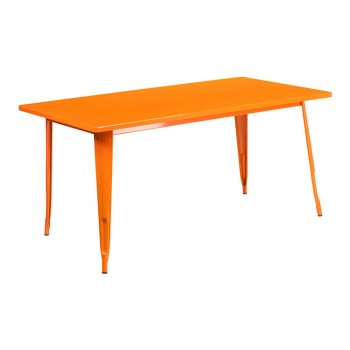 31.5'' X 63'' RECTANGULAR ORANGE METAL INDOOR-OUTDOOR TABLE